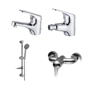 Conjunto de 3 torneiras (lavatório,bidé e base) + rampa de duche