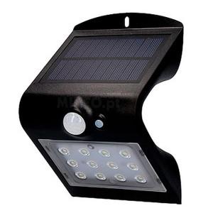 Aplique solar 1.5W 6000K Preto