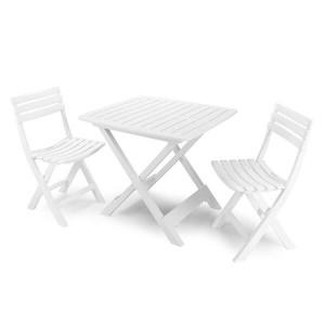 Conjunto de mesa e duas cadeiras de jardim branco