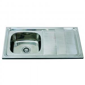 Lava louça com 1 pia e 1 escorredor 100x60x19cm Inox