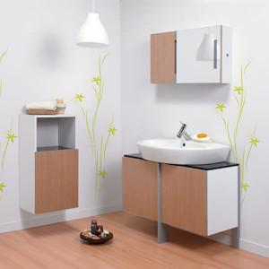Conjunto de móvel, tampo espelho e lavatório de pousar 80 New Day Carvalho