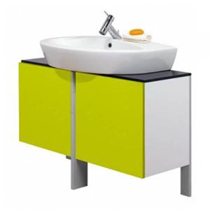 Conjunto de móvel, tampo espelho e lavatório de pousar 80 New Day Verde