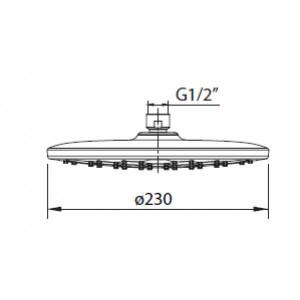 Chuveiro de teto Abs ø 230 mm Hexag Air cromado