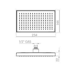 Chuveiro teto rectangular 25x14 abs cromado EES036