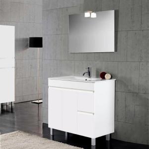 Móvel com lavatório, espelho e aplique Iris 80cm branco brilho