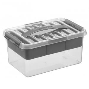 Caixa multiusos com tabuleiro, fecho e pega cor cinza metalizado