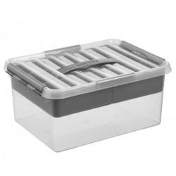 Caixa multiusos c/ tabuleiro e fecho e c/ pega cinza metalizada, 15lts
