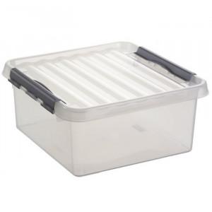Caixa Quadrada com pega e fechos 18lt cinza