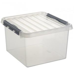Caixa quadrada transparente com pega e fecho 26L cinza metalizado