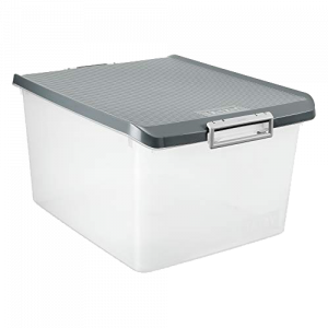 Caixa multiusos 35l translucida cinza