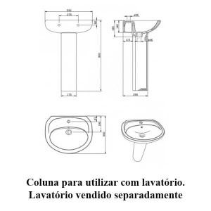 Coluna para lavatório aveiro branco