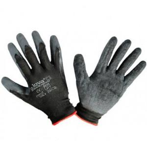 Luva de nylon com revestimento em latex preta tamanho 8