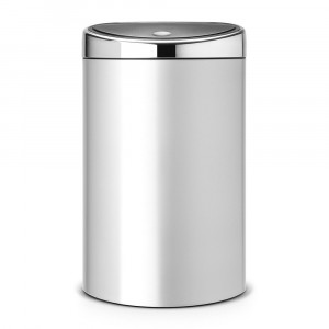 Balde Touch Bin cinza metalizado 40L